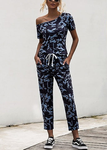 Image of Off Shoulder Camouflage Jumpsuit