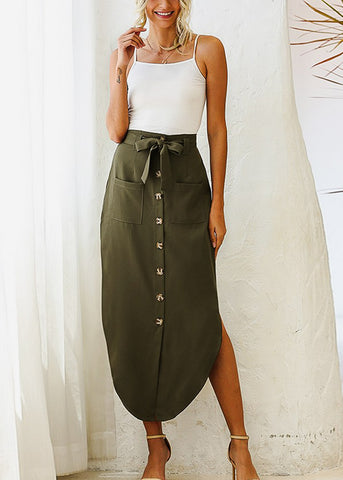 Image of Button Front Olive Maxi Skirt