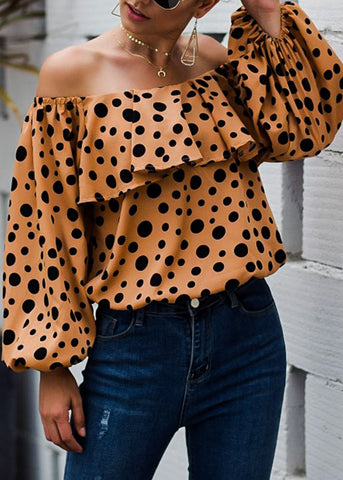 Off Shoulder Ruffle Khaki Polka Dot Top