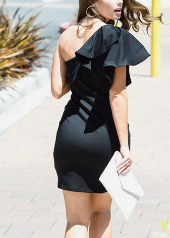 Ruffled One Shoulder Black Dress