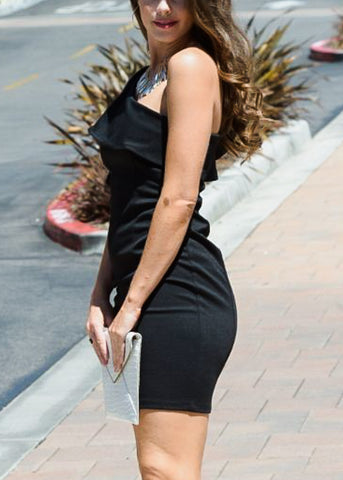 Image of Ruffled One Shoulder Black Dress