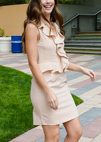 Beige Ruffle Peplum Dress