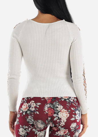 Image of Lace Up White Sweater Top