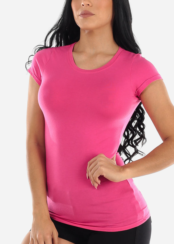 Crew Neck Basic T-Shirt (Pink)
