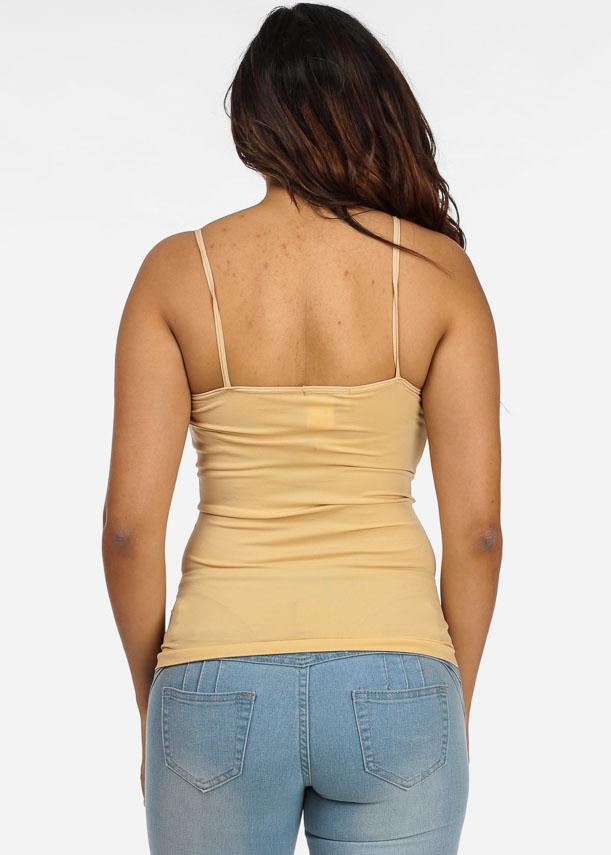 One Size Spaghetti Strap Seamless Top (Beige)