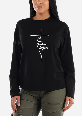 "Image of Black Jersey Graphic Top ""Faith"""