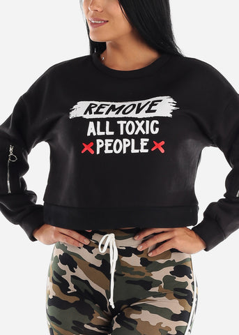 "Image of Black Graphic Pullover ""Remove All Toxic People"""