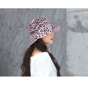 Women's Reversible Leopard Print Bucket Hat