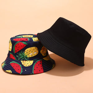 Fruit Print Bucket Hat - Pineapple Watermelon