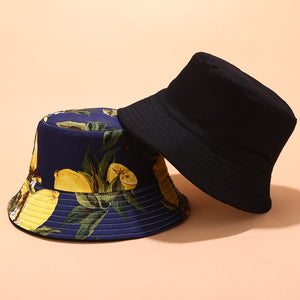 Fruit Print Bucket Hat - Lemon
