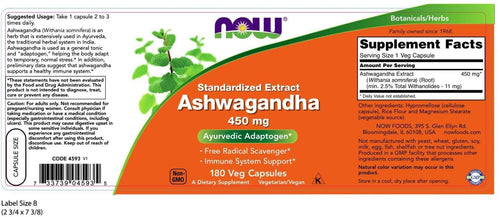 NOW Foods Ashwagandha Extract 450mg 180Vcaps
