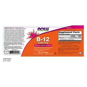 NOW Foods B-12 2000mcg 100 Lozenges
