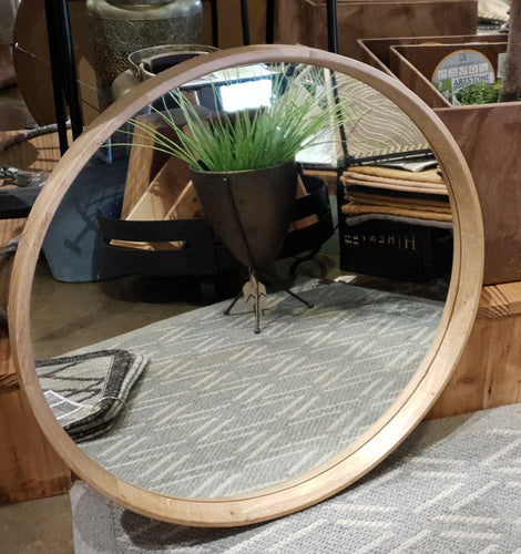 Round mirror - Oak custom made