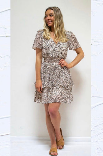 Safari Layer Shirred Dress