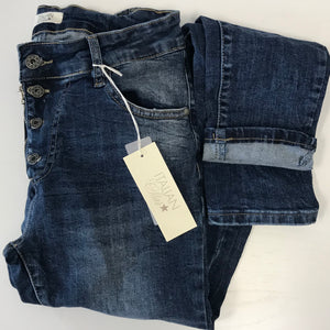 Italian Star Button Zip Denim Jeans
