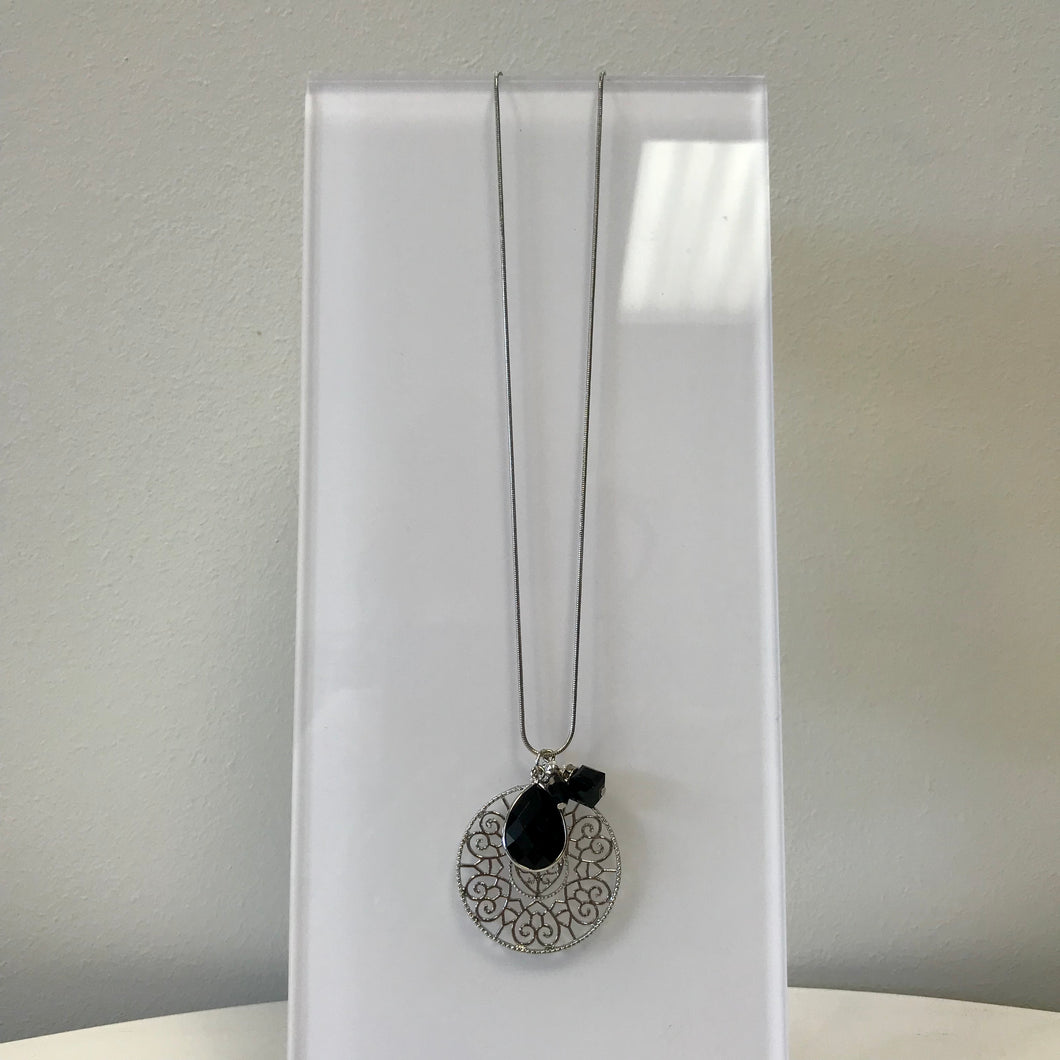 Long Jewel and Circle Charm Necklace