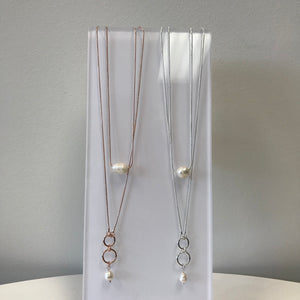Pearl Hoop Drop Necklace