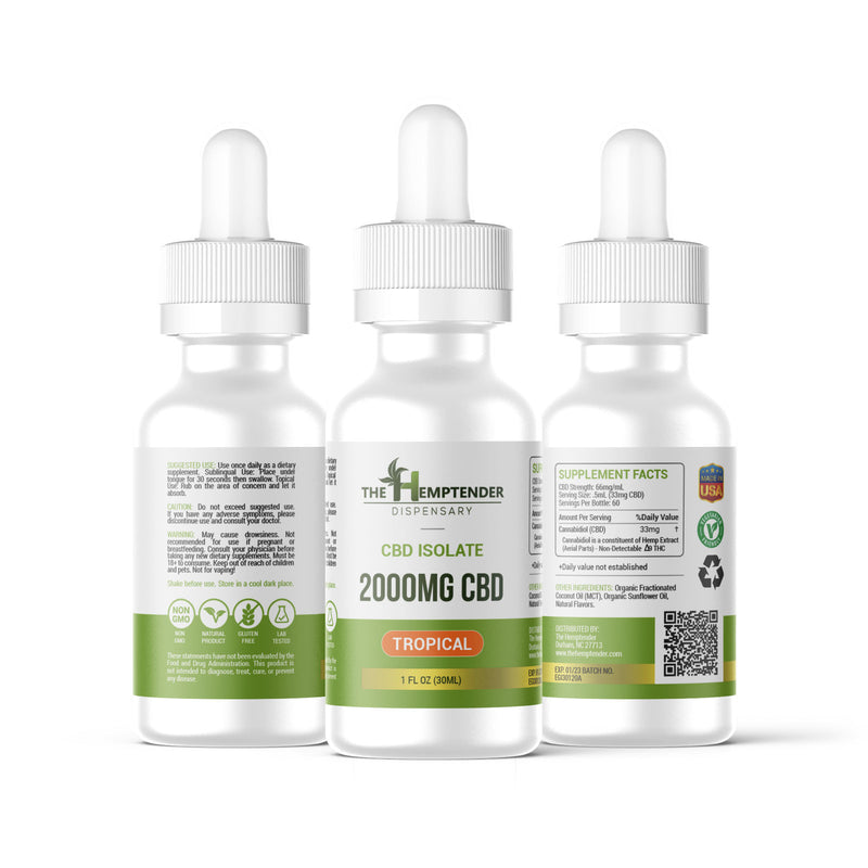 The Hemptender 2000mg CBD Isolate Tincture Tropical Flavor