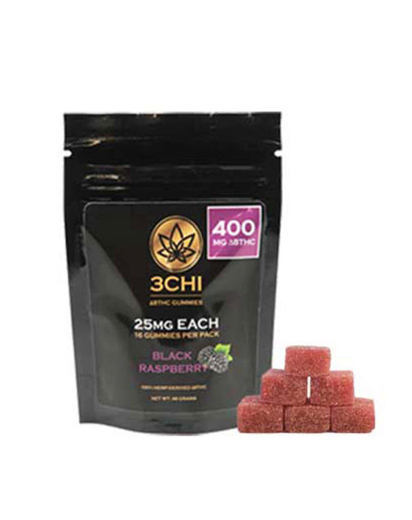 Delta 8 Gummy Squares by 3CHI 25MG each (8CT) and (16CT) Black Raspberry