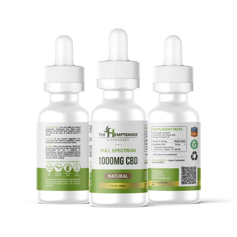 The Hemptender 1000mg CBD Full Spectrum Tincture Natural Flavor
