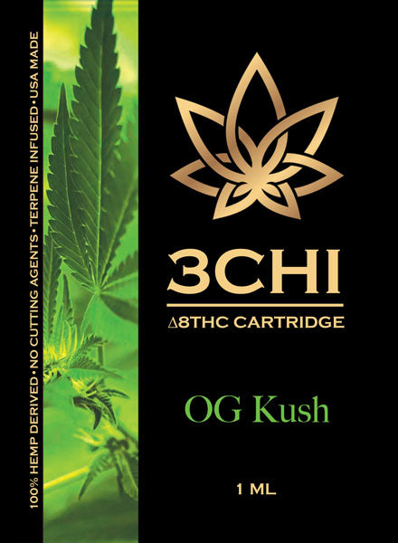 3CHI OG Kush (Sativa) Delta 8 THC 1ml Cartridge **Available in store only**