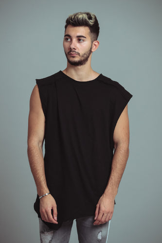TEE-SHIRT ASYMÉTRIQUE- BLACK