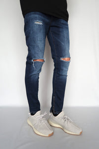 JEANS DISTRESSED - DARK BLUE