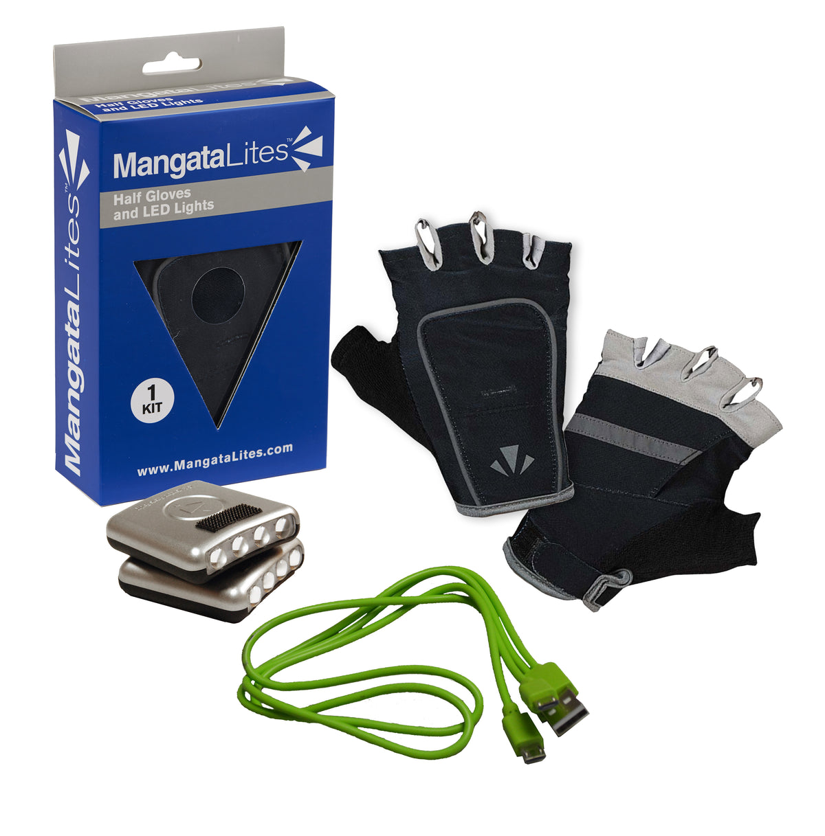 MangataLites Batty Black Half Gloves Kit (Lights included)