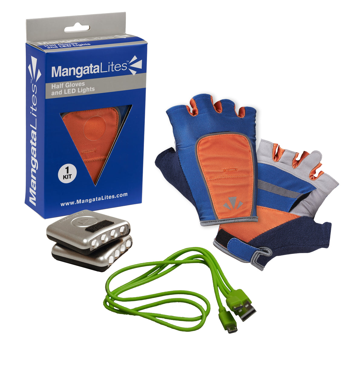 MangataLites Blue & Orange Half Gloves Kit (Lights Included)