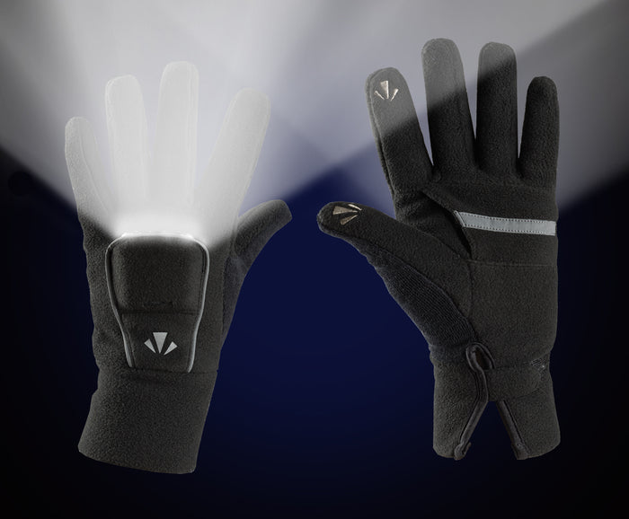 PolarLites Fleece II Gloves (BLACK) Full-Length -- (Lights Sold Separately)