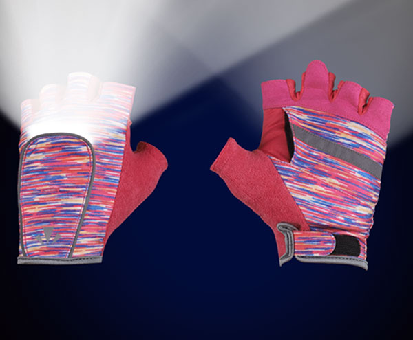RunLites Gloves (Pink Flecks) Half Length -- Lights sold separately - Mangata