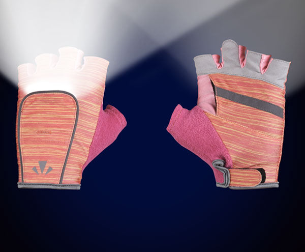 RunLites Gloves (Pink Stripe) Half Length -- Lights sold separately - Mangata