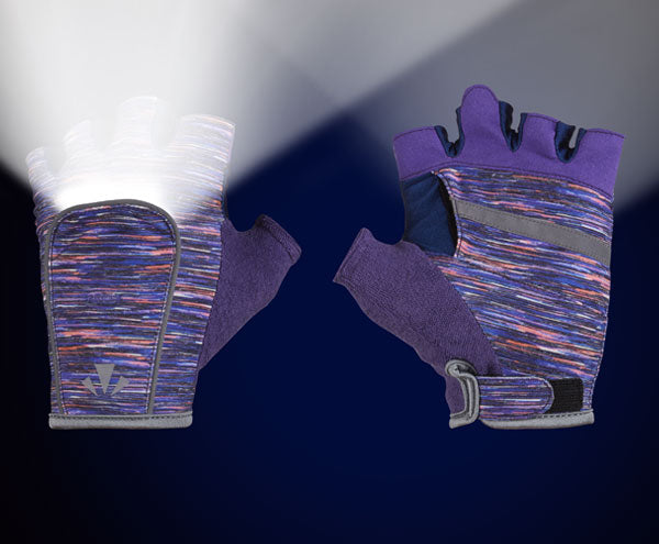 RunLites Gloves (Purple Flecks) Half Length -- Lights sold separately - Mangata
