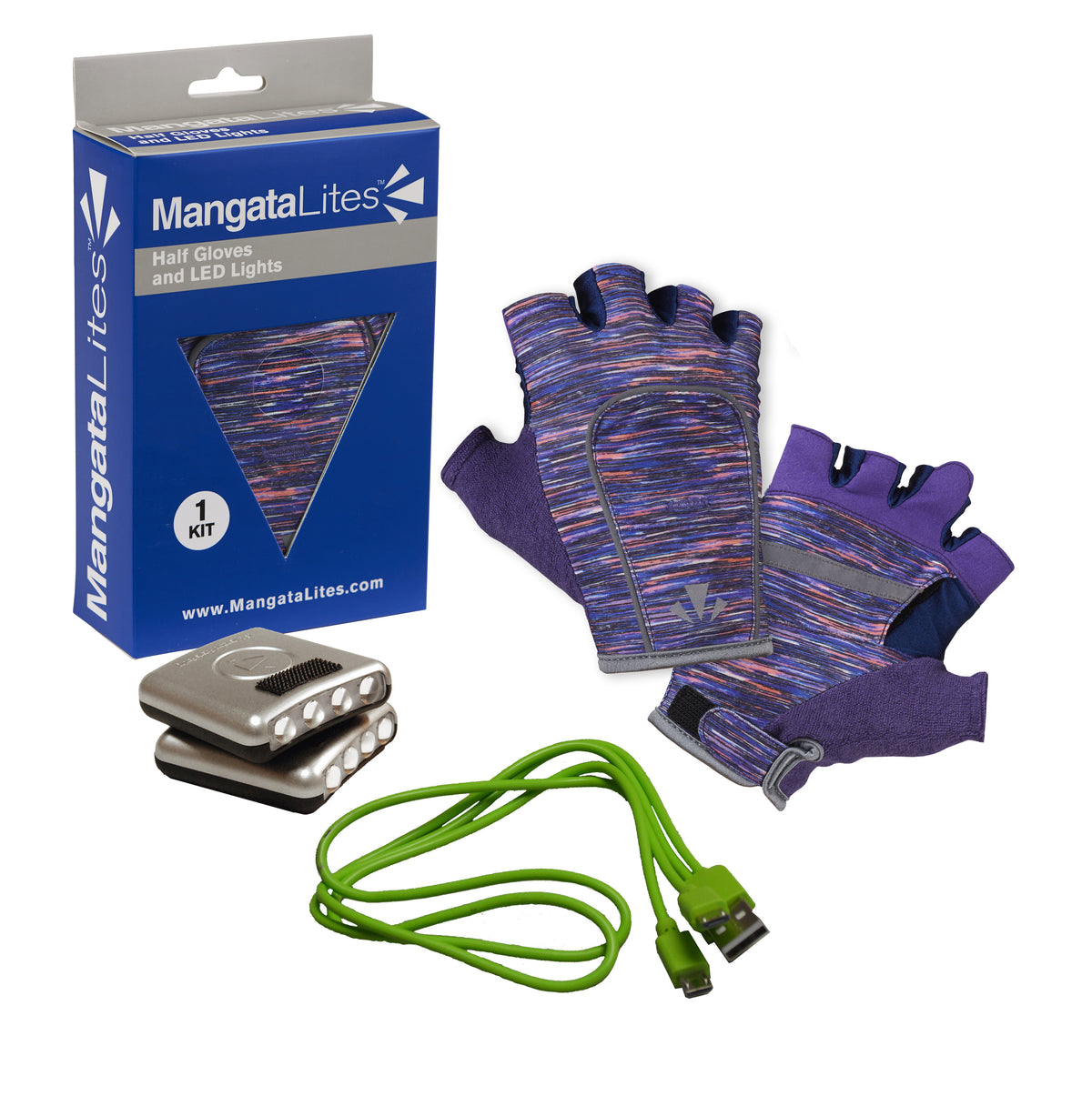 MangataLites Purple Flecks Half Gloves Kit (Lights included) - Mangata