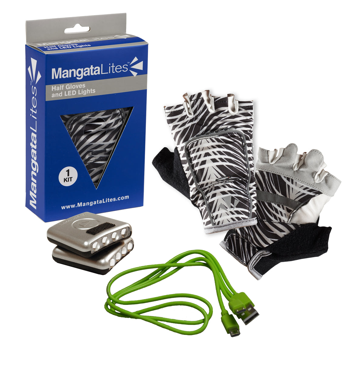 MangataLites Black & White Wave Half Gloves Kit (Lights included) - Mangata