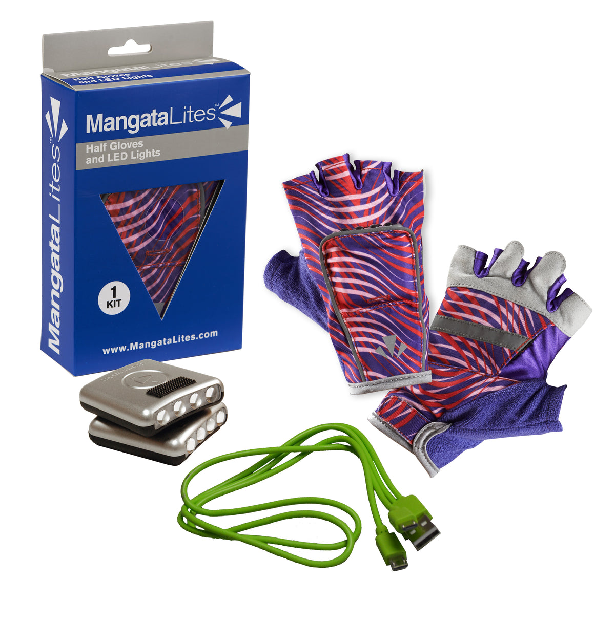 MangataLites Red & Purple Wave Half Gloves Kit (Lights included) - Mangata