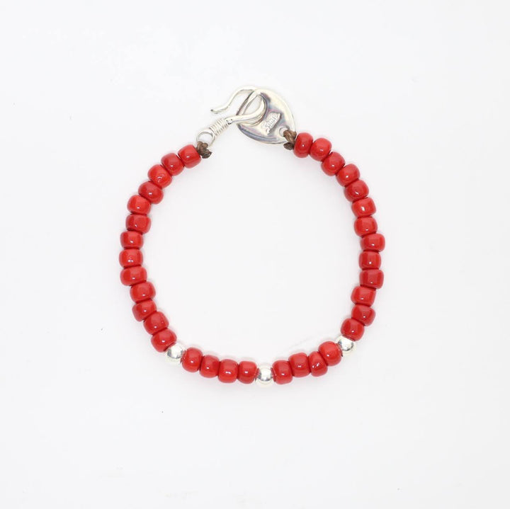 shaft silver works シャフト シルバーワークス -Glass Beads Bracelet- 3point RED