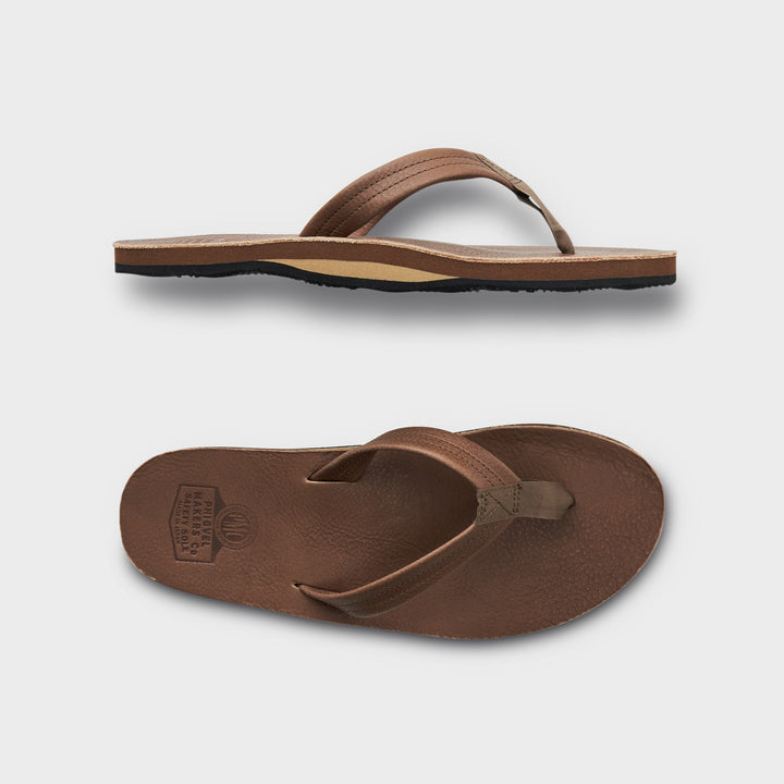 PHIGVEL -LEATHER BEACH SANDAL-MOCHA BROWN