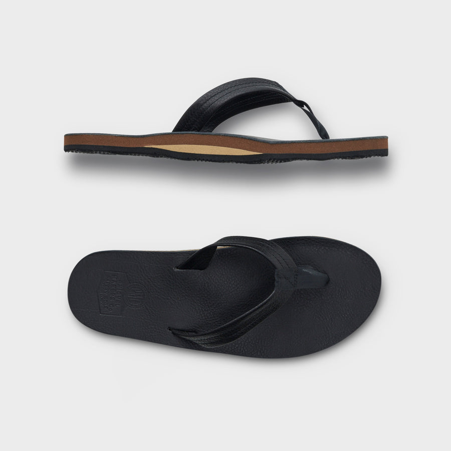 PHIGVEL -LEATHER BEACH SANDAL- BLACK