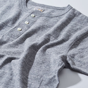 PHIGVEL -HENLEY NECK TEE- top gray