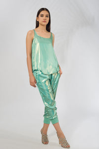 Drawstring Pant in Georgette Lame