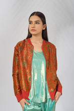 Load image into Gallery viewer, Banarasi Bomber Jacket in Orange - SOLD OUT