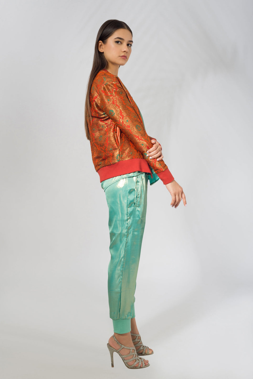 Banarasi Bomber Jacket in Orange - SOLD OUT