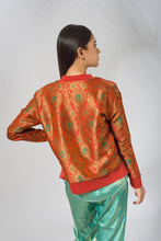 Load image into Gallery viewer, Banarasi Bomber Jacket in Orange - SOLD OUT - Deen & Keenu