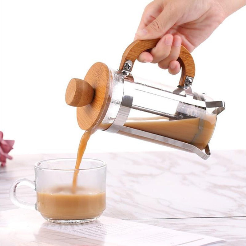 Eco-Friendly Bamboo Coffee Plunger
