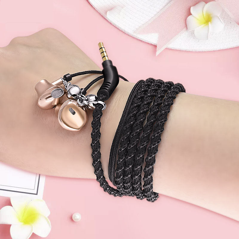 Hand rope woven bracelet earphone