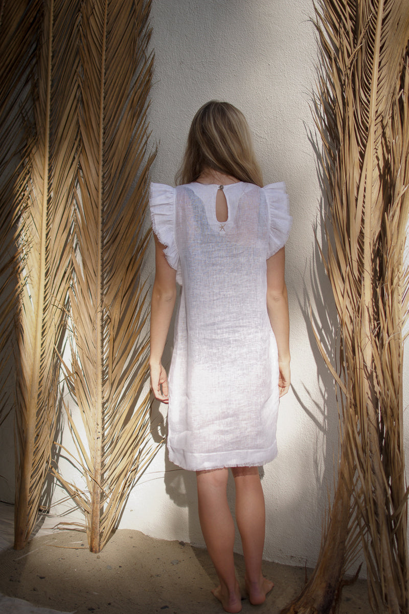 luxury linen, white linen dress, mini linen dress, midi dress, vacation dress, ruffle dress, dress with ruffles, linen dress , resort wear, pearl swimwear, heather fish