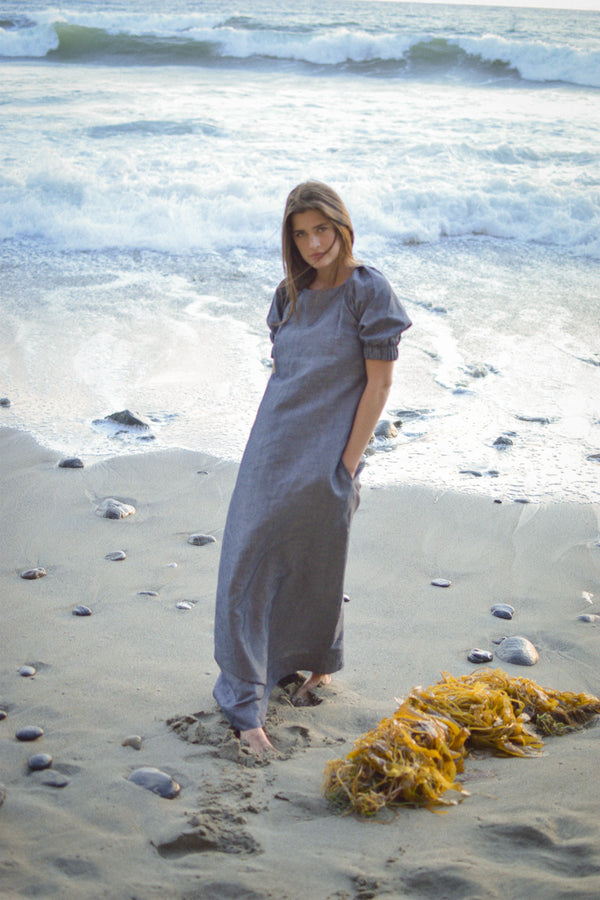 navy linen maxi dress, blue linen maxi dress, Navy maxi dress, blue maxi dress, luxury linen, puff sleeve dress, pearl swimwear, heather fish