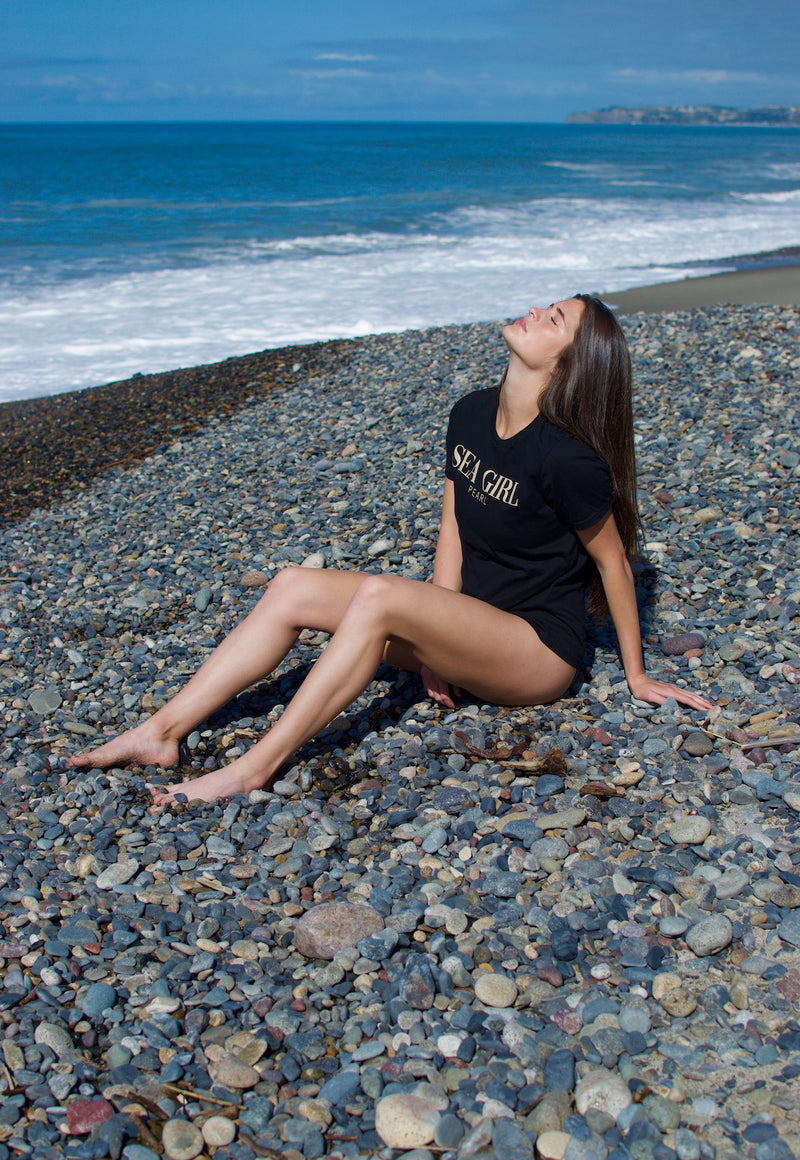 pearl swimwear by heather fish, beach tee, black tee, sea girl, beach tee, crew neck tee