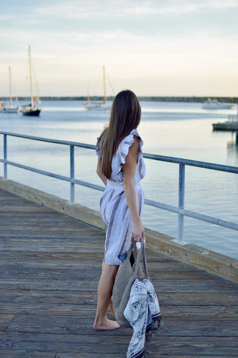 luxury linen, striped dress, striped linen dress, grey linen striped dress, gray linen dress, midi dress, vacation dress, ruffle dress, dress with ruffles, linen dress, resort wear, pearl swimwear, heather fish